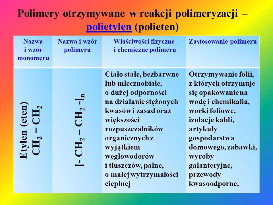 Polimery otrzymywane w reakcji polikondensacji – poliestrypoliestry Nazwa grupy polimerów Nazwa i wzór polimeru Właściwości fizyczne i chemiczne polimeru Zastosowanie polimeru Poliestry Estry nienasyconych kwasów di- karboksylowych i glikolu Żywice o dużej lepkości, po utwardzeniu ciała stałe, białe, wytrzymałość mechaniczna zależy od wypełniacza i sposobu utwardzeni, odporne na rozpuszczalniki niepolarne, wodę i rozcieńczone kwasy, trudno palne Produkcja laminatów na bazie włókna szklanego (kadłuby jachtów, kajaków, maszyn zbiorników, produkcja klejów i lakierów Poliwęglany Ciała stałe bezbarwne o dużej przezroczystości i dużej wytrzymałości mechanicznej oraz dobrej wytrzymałości cieplnej, rozpuszczalne w większości rozpuszczalników organicznych, trudno palne Produkcja szyb samochodowych i samolotowych, szyb kuloodpornych, folii izolacyjnych, soczewek, płyt CD