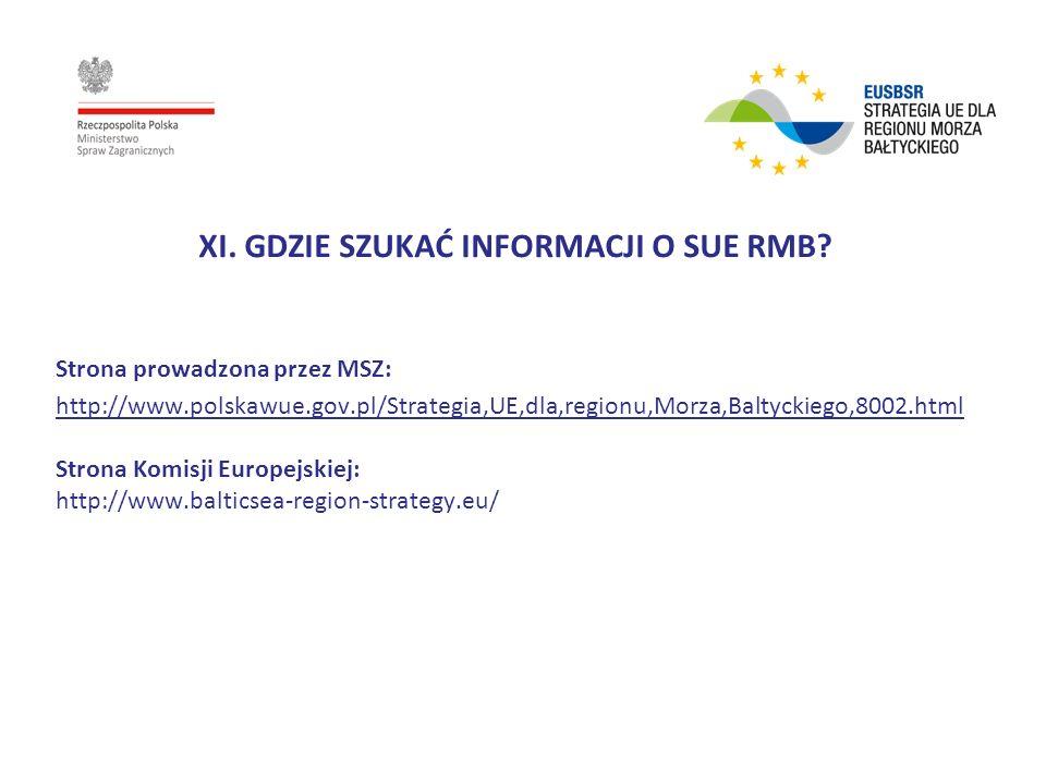 XI. GDZIE SZUKAĆ INFORMACJI O SUE RMB? Strona prowadzona przez MSZ: http://www.polskawue.gov.pl/Strategia,UE,dla,regionu,Morza,Baltyckiego,8002.html S