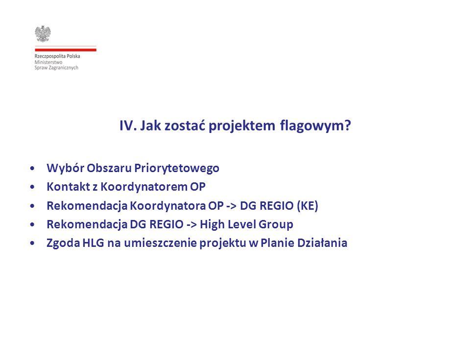 IV. Jak zostać projektem flagowym? Wybór Obszaru Priorytetowego Kontakt z Koordynatorem OP Rekomendacja Koordynatora OP -> DG REGIO (KE) Rekomendacja