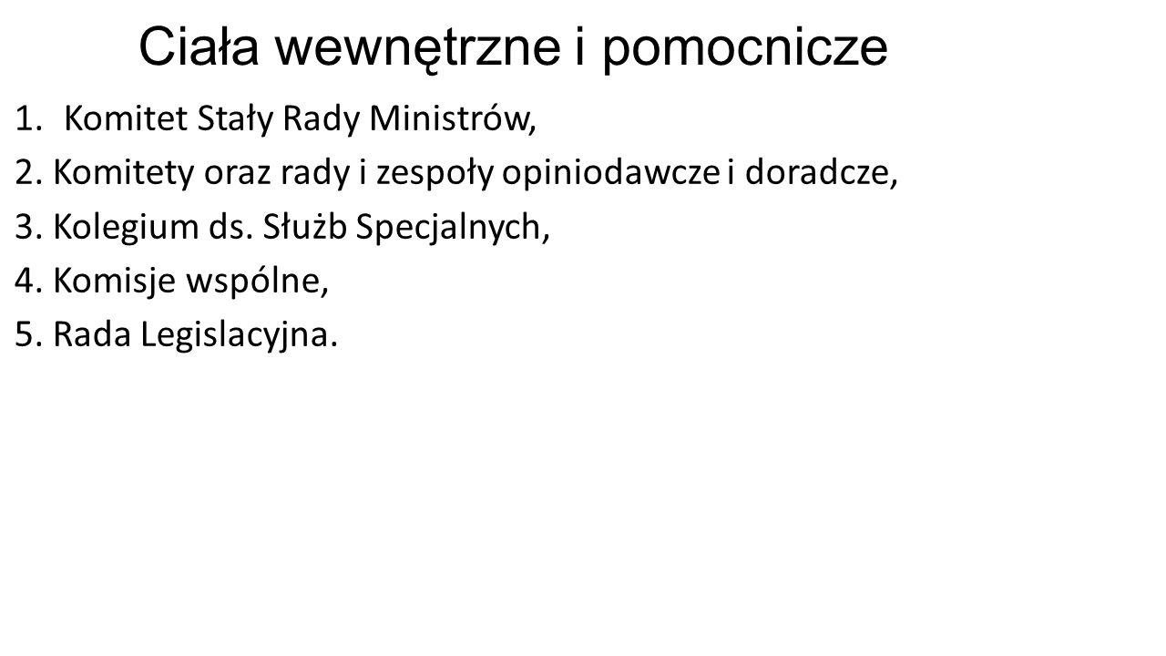 Ciała wewnętrzne i pomocnicze 1.Komitet Stały Rady Ministrów, 2.