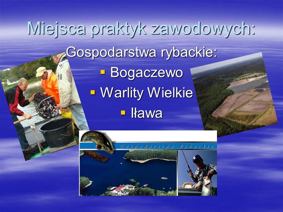Miejsca praktyk zawodowych: Gospodarstwa rybackie:  Bogaczewo  Warlity Wielkie  Iława