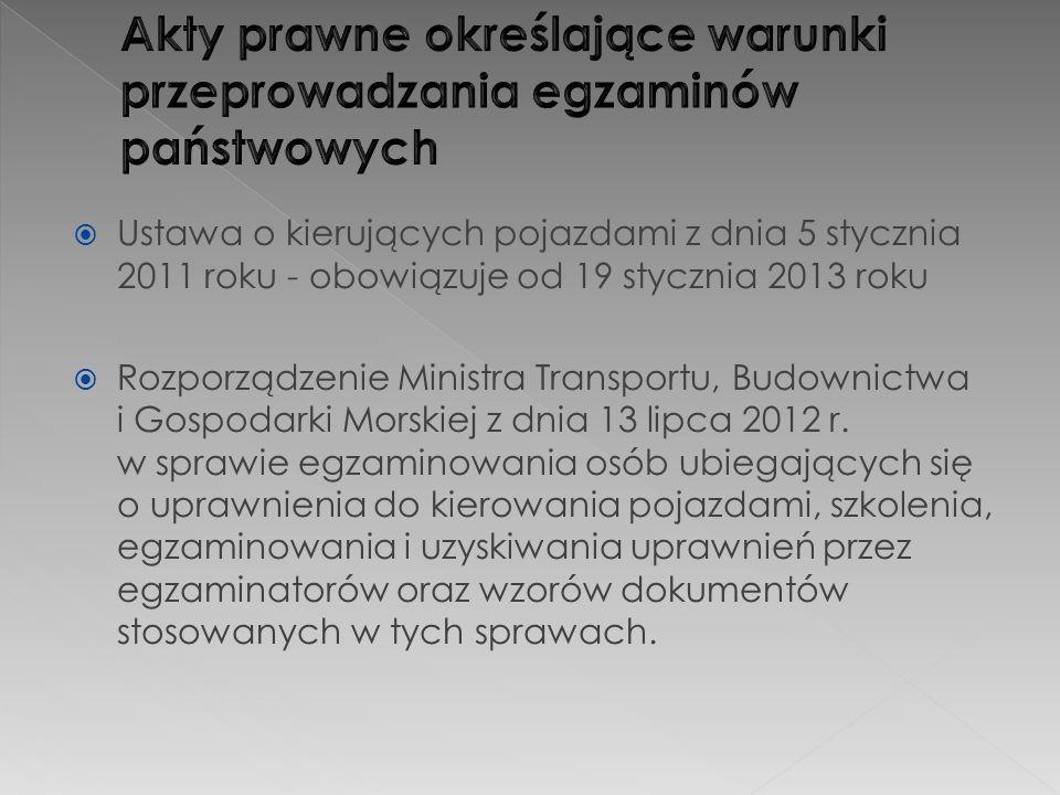  Ustawa o kierujących pojazdami z dnia 5 stycznia 2011 roku - obowiązuje od 19 stycznia 2013 roku  Rozporządzenie Ministra Transportu, Budownictwa i Gospodarki Morskiej z dnia 13 lipca 2012 r.