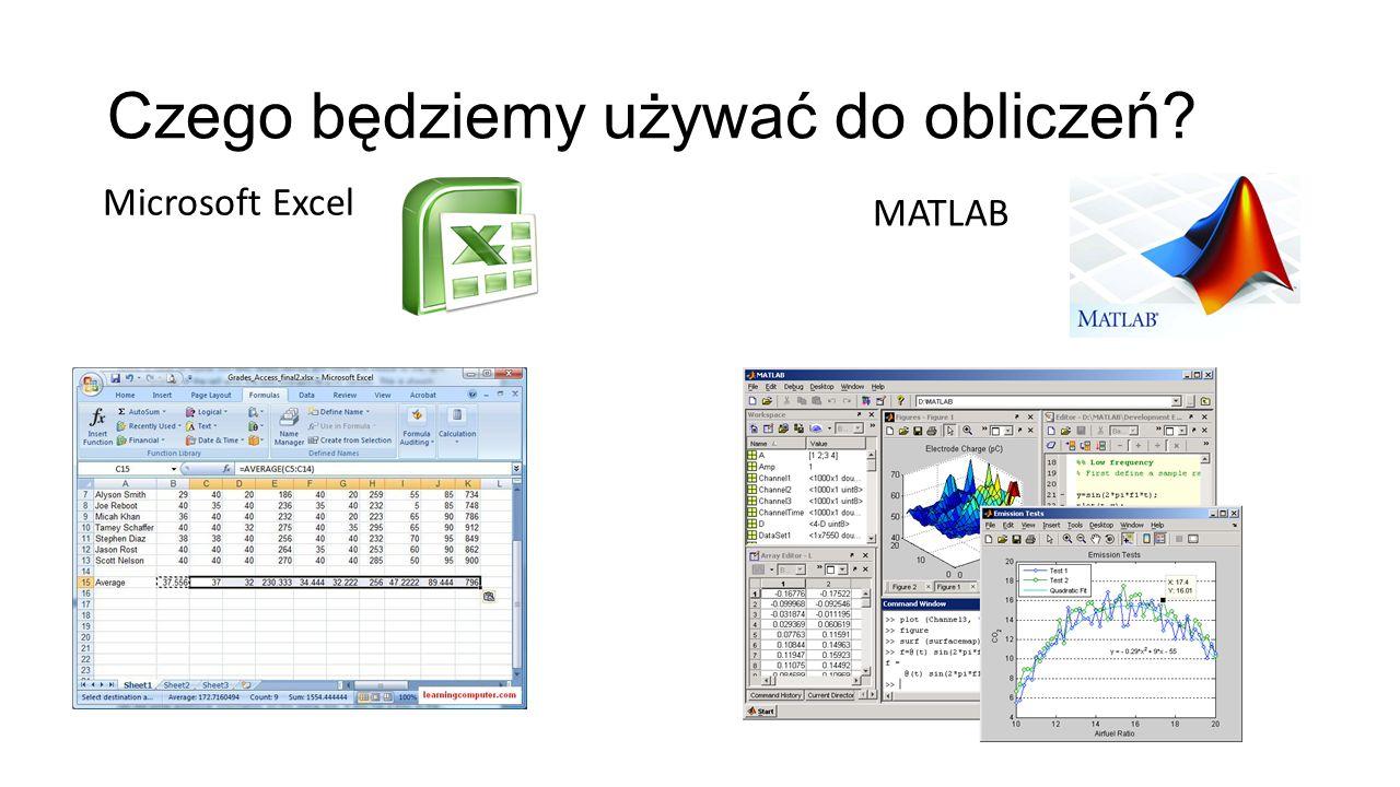 Czego będziemy używać do obliczeń? Microsoft Excel MATLAB