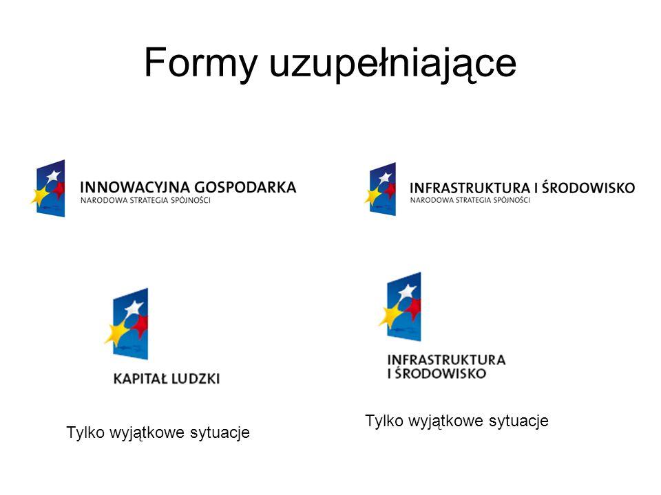 Czego nie wolno robić z logotypami 1.pozbawiać logotypów jakichkolwiek elementów składowych wersji podstawowej; 2.stosować innych kolorów i czcionek niż te wskazane w księgach znaku i dokumentacji herbu; 3.umieszczać znaków na agresywnym, wielobarwnym tle; 4.zniekształcać proporcji znaków przez ściąganie i rozciąganie; 5.zmieniać proporcje elementów znaków; 6.nie należy używać skrótów UE, EFRR, NSS gdyż nie są one powszechnie znane.