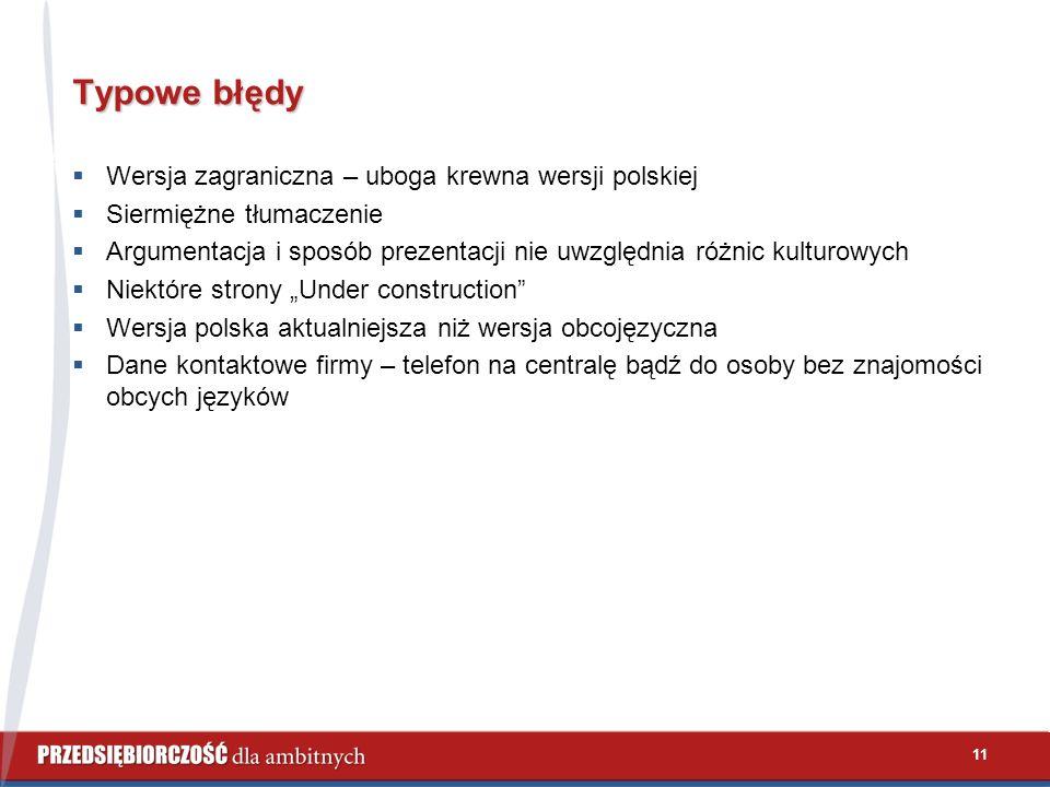 11 Typowe błędy  Wersja zagraniczna – uboga krewna wersji polskiej  Siermiężne tłumaczenie  Argumentacja i sposób prezentacji nie uwzględnia różnic