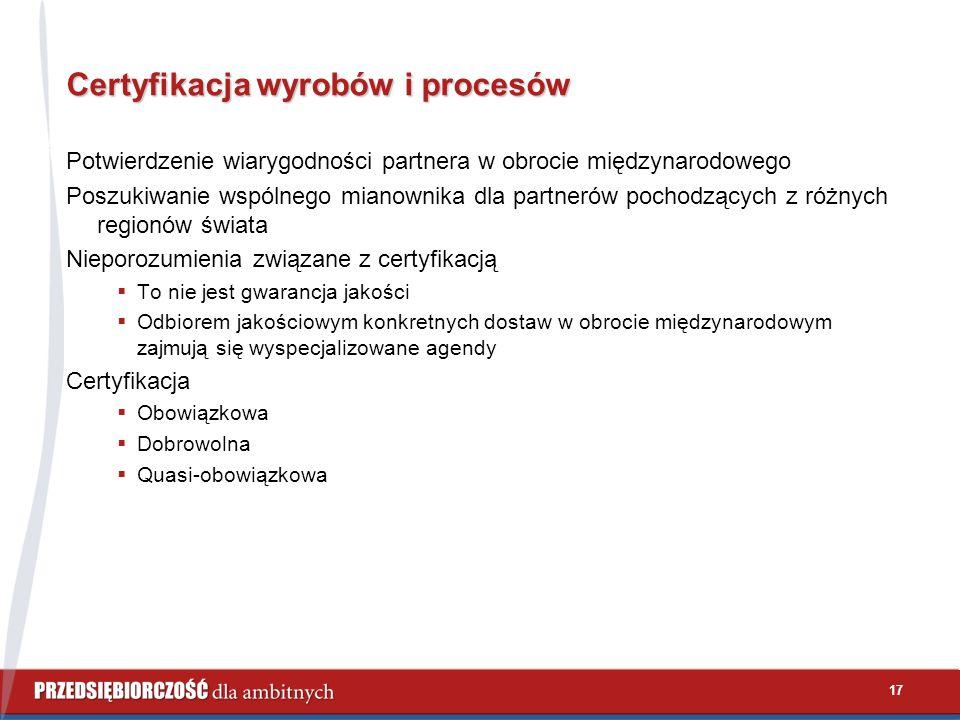 17 Certyfikacja wyrobów i procesów Potwierdzenie wiarygodności partnera w obrocie międzynarodowego Poszukiwanie wspólnego mianownika dla partnerów poc