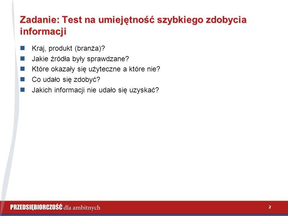 2 Zadanie: Test na umiejętność szybkiego zdobycia informacji Kraj, produkt (branża)? Jakie źródła były sprawdzane? Które okazały się użyteczne a które