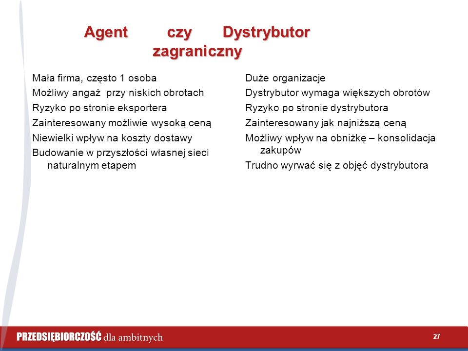 27 Agent czy Dystrybutor zagraniczny Agent czy Dystrybutor zagraniczny Mała firma, często 1 osoba Możliwy angaż przy niskich obrotach Ryzyko po stroni
