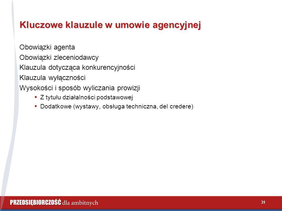 31 Kluczowe klauzule w umowie agencyjnej Obowiązki agenta Obowiązki zleceniodawcy Klauzula dotycząca konkurencyjności Klauzula wyłączności Wysokości i