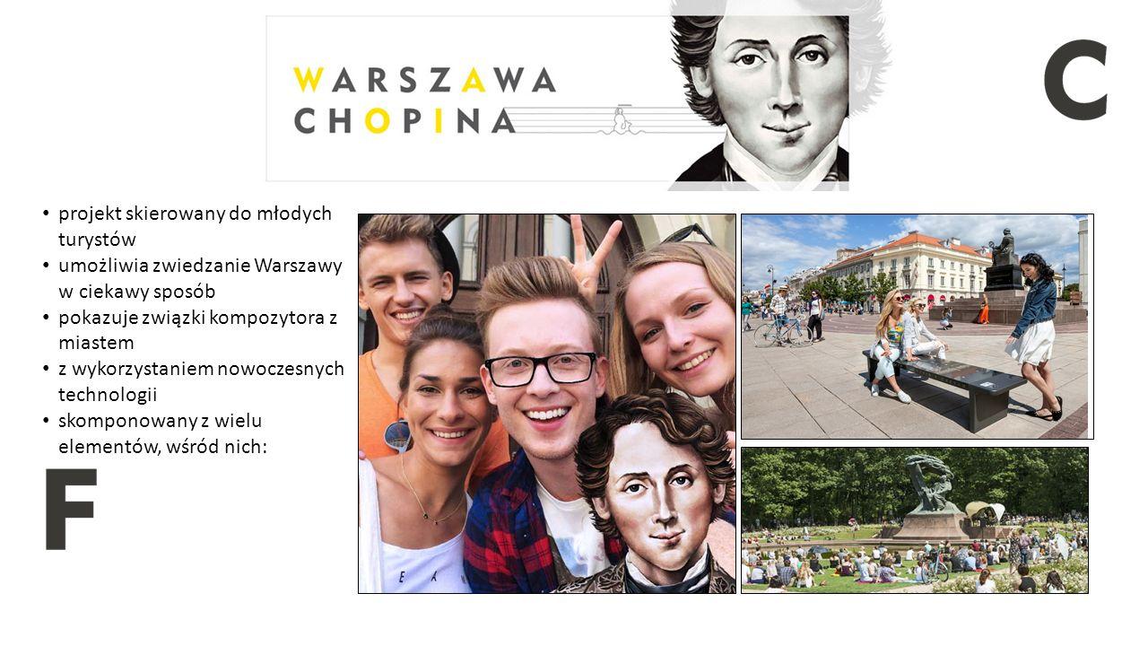projekt skierowany do młodych turystów umożliwia zwiedzanie Warszawy w ciekawy sposób pokazuje związki kompozytora z miastem z wykorzystaniem nowoczesnych technologii skomponowany z wielu elementów, wśród nich: