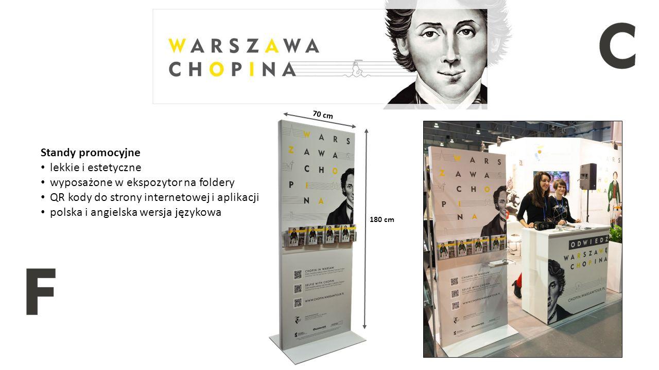 180 cm 70 cm Standy promocyjne lekkie i estetyczne wyposażone w ekspozytor na foldery QR kody do strony internetowej i aplikacji polska i angielska wersja językowa