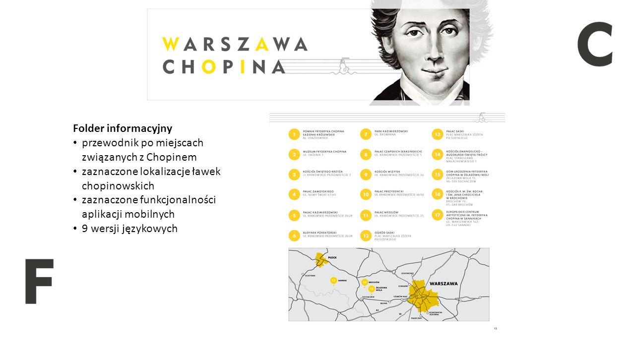 Folder informacyjny przewodnik po miejscach związanych z Chopinem zaznaczone lokalizacje ławek chopinowskich zaznaczone funkcjonalności aplikacji mobilnych 9 wersji językowych