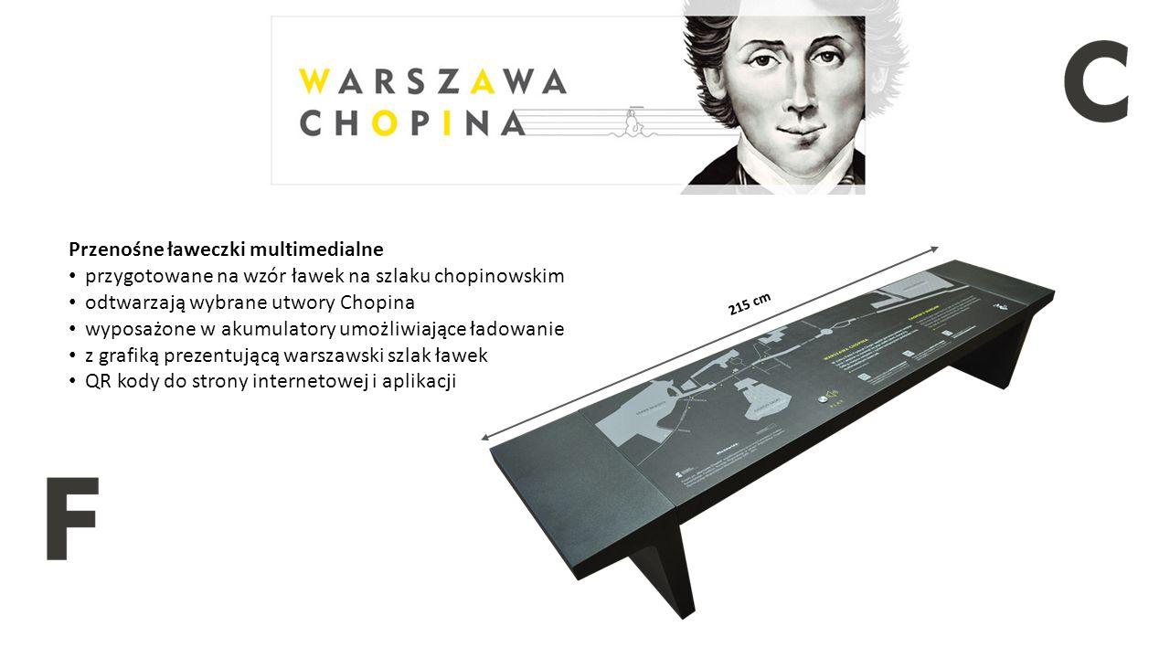 Przenośne ławeczki multimedialne przygotowane na wzór ławek na szlaku chopinowskim odtwarzają wybrane utwory Chopina wyposażone w akumulatory umożliwiające ładowanie z grafiką prezentującą warszawski szlak ławek QR kody do strony internetowej i aplikacji 215 cm