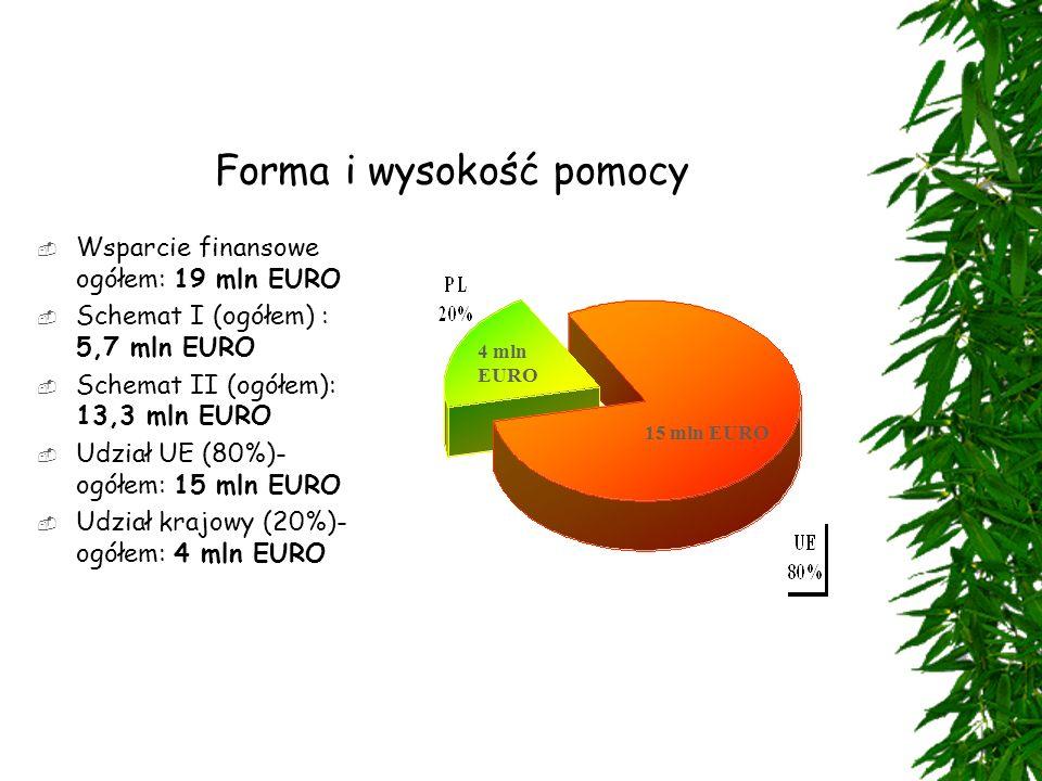 Forma i wysokość pomocy  Wsparcie finansowe ogółem: 19 mln EURO  Schemat I (ogółem) : 5,7 mln EURO  Schemat II (ogółem): 13,3 mln EURO  Udział UE (80%)- ogółem: 15 mln EURO  Udział krajowy (20%)- ogółem: 4 mln EURO 4 mln EURO 15 mln EURO