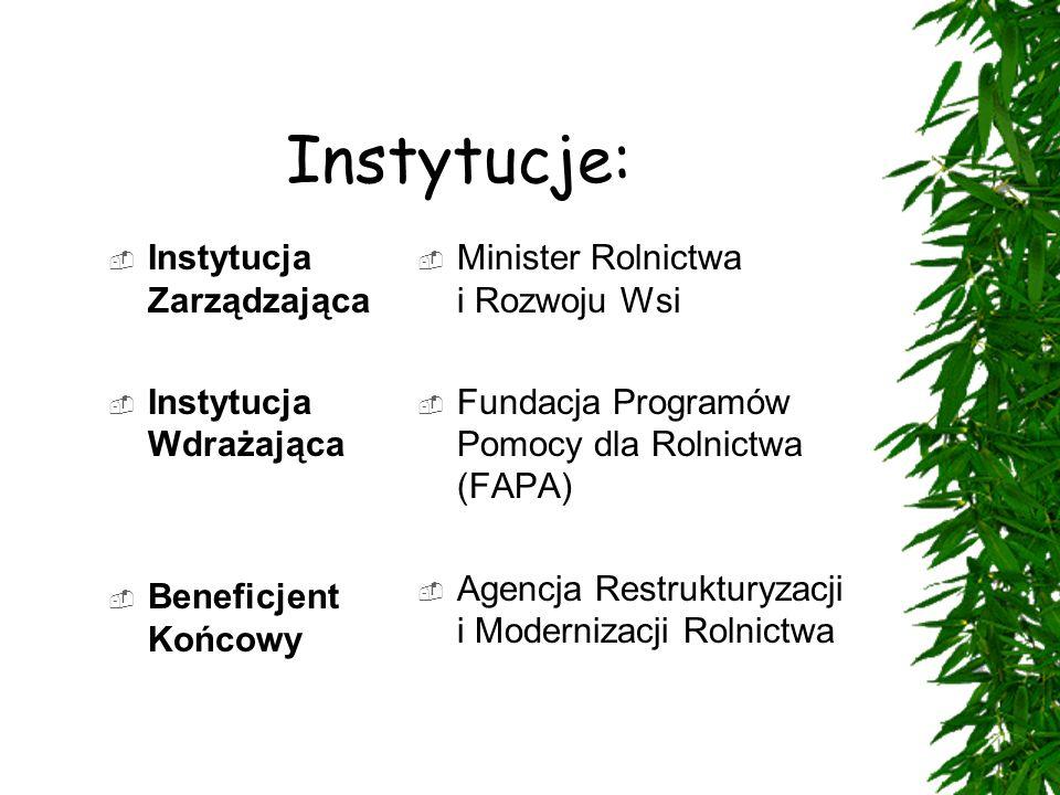  Instytucja Zarządzająca  Instytucja Wdrażająca  Beneficjent Końcowy  Minister Rolnictwa i Rozwoju Wsi  Fundacja Programów Pomocy dla Rolnictwa (FAPA)  Agencja Restrukturyzacji i Modernizacji Rolnictwa Instytucje: