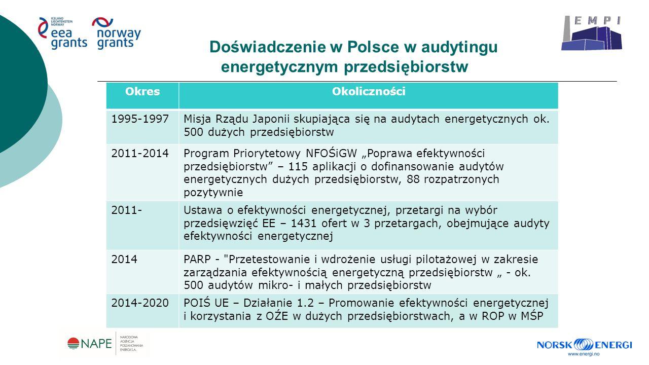 Doświadczenie w Polsce w audytingu energetycznym przedsiębiorstw OkresOkoliczności 1995-1997Misja Rządu Japonii skupiająca się na audytach energetycznych ok.