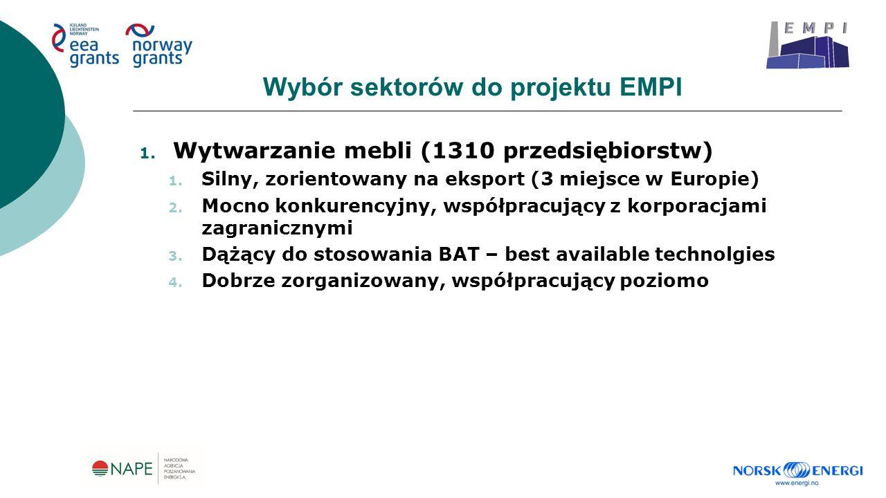 Wybór sektorów do projektu EMPI 1. Wytwarzanie mebli (1310 przedsiębiorstw) 1. Silny, zorientowany na eksport (3 miejsce w Europie) 2. Mocno konkurenc