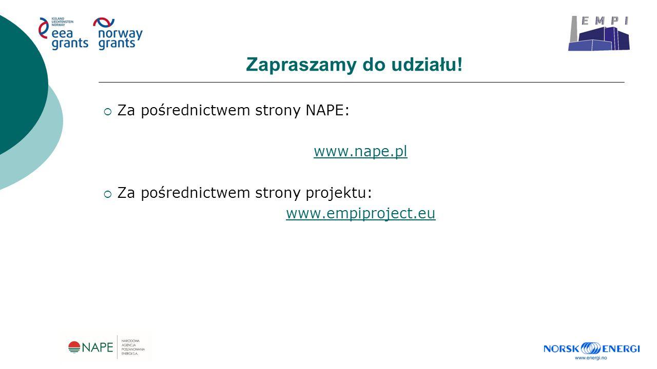 Zapraszamy do udziału!  Za pośrednictwem strony NAPE: www.nape.pl  Za pośrednictwem strony projektu: www.empiproject.eu