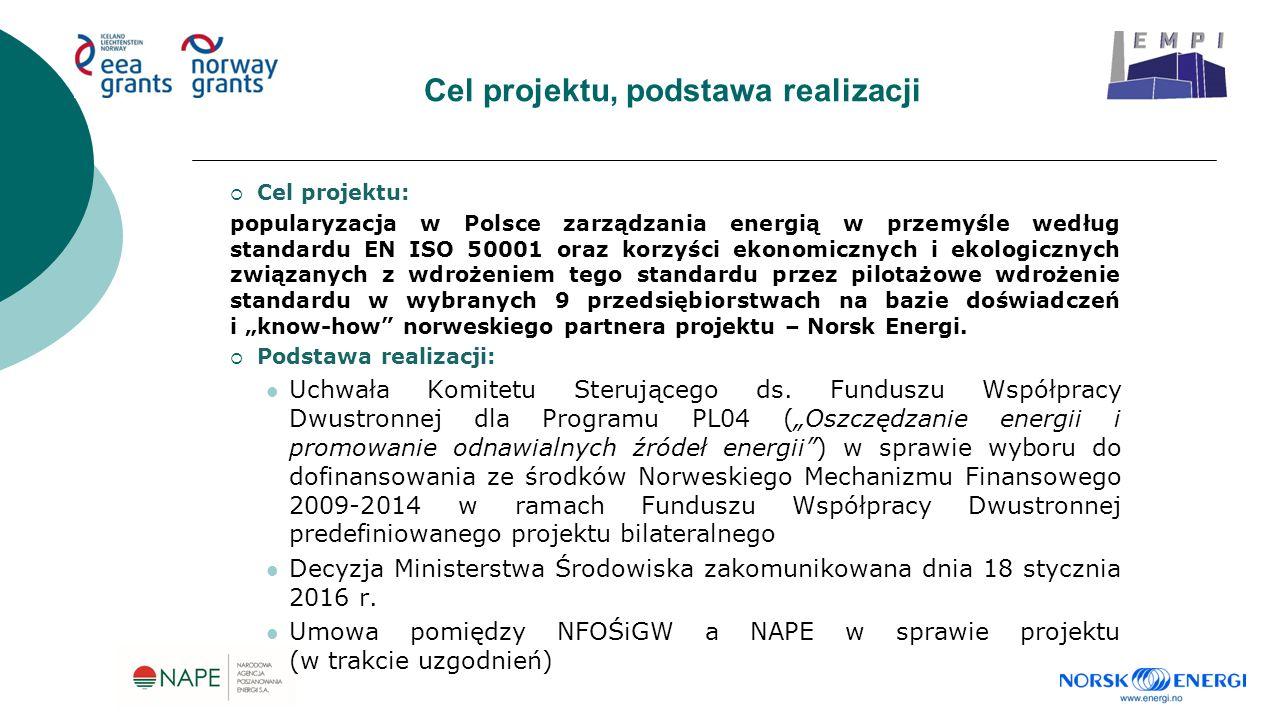 """Cel projektu, podstawa realizacji  Cel projektu: popularyzacja w Polsce zarządzania energią w przemyśle według standardu EN ISO 50001 oraz korzyści ekonomicznych i ekologicznych związanych z wdrożeniem tego standardu przez pilotażowe wdrożenie standardu w wybranych 9 przedsiębiorstwach na bazie doświadczeń i """"know-how norweskiego partnera projektu – Norsk Energi."""