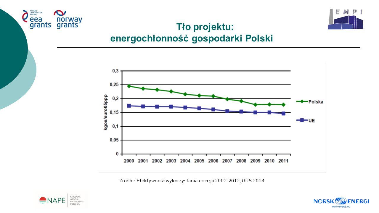 Tło projektu: energochłonność gospodarki Polski Źródło: Efektywność wykorzystania energii 2002-2012, GUS 2014