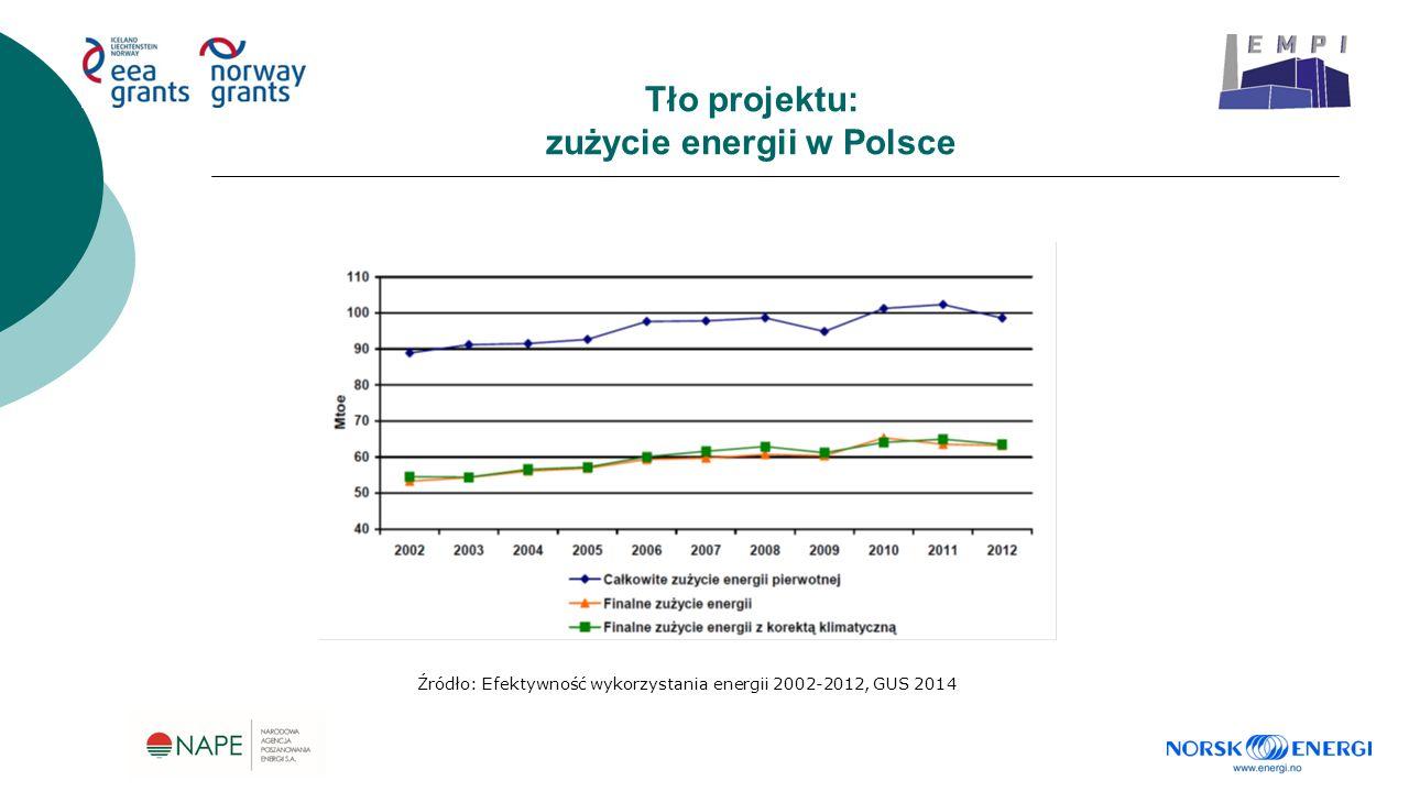Tło projektu: zużycie energii w Polsce Źródło: Efektywność wykorzystania energii 2002-2012, GUS 2014