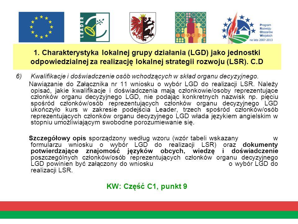 1. Charakterystyka lokalnej grupy działania (LGD) jako jednostki odpowiedzialnej za realizację lokalnej strategii rozwoju (LSR). C.D 6)Kwalifikacje i