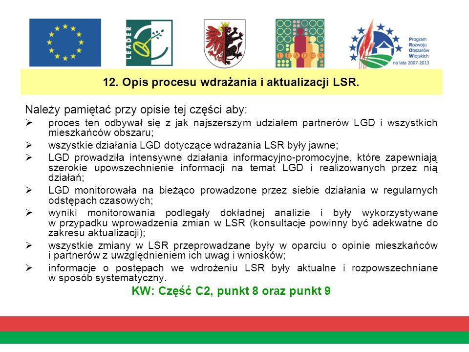 12. Opis procesu wdrażania i aktualizacji LSR.