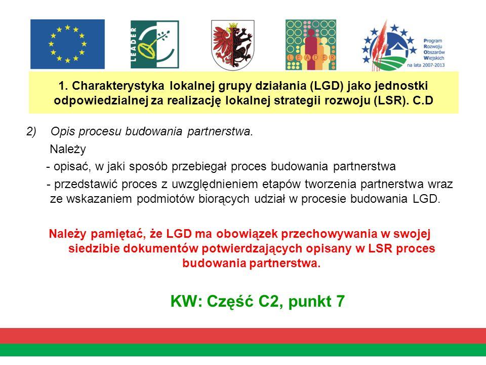 1. Charakterystyka lokalnej grupy działania (LGD) jako jednostki odpowiedzialnej za realizację lokalnej strategii rozwoju (LSR). C.D 2)Opis procesu bu