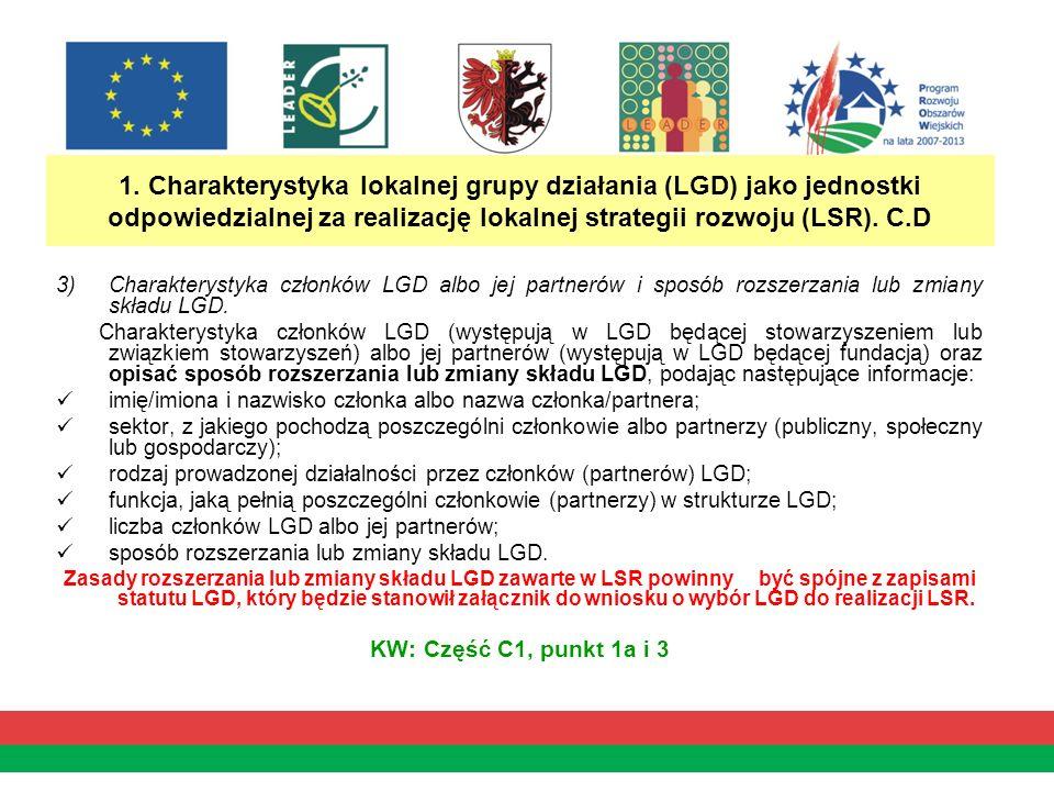 1. Charakterystyka lokalnej grupy działania (LGD) jako jednostki odpowiedzialnej za realizację lokalnej strategii rozwoju (LSR). C.D 3)Charakterystyka