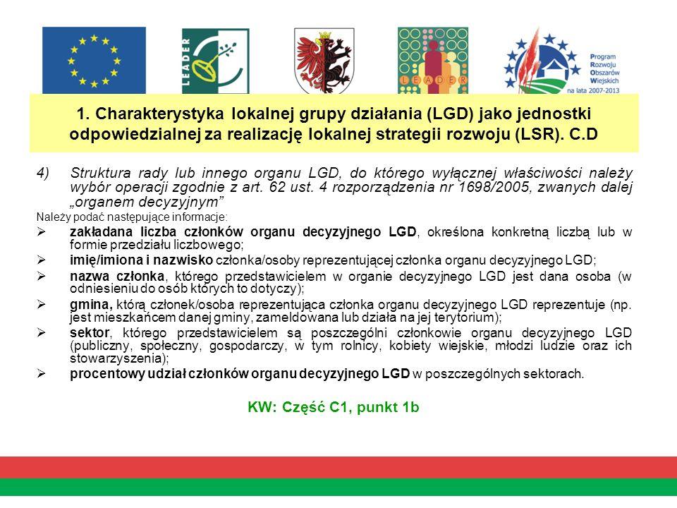 1. Charakterystyka lokalnej grupy działania (LGD) jako jednostki odpowiedzialnej za realizację lokalnej strategii rozwoju (LSR). C.D 4)Struktura rady
