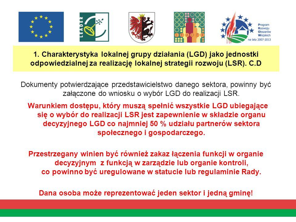 1. Charakterystyka lokalnej grupy działania (LGD) jako jednostki odpowiedzialnej za realizację lokalnej strategii rozwoju (LSR). C.D Dokumenty potwier