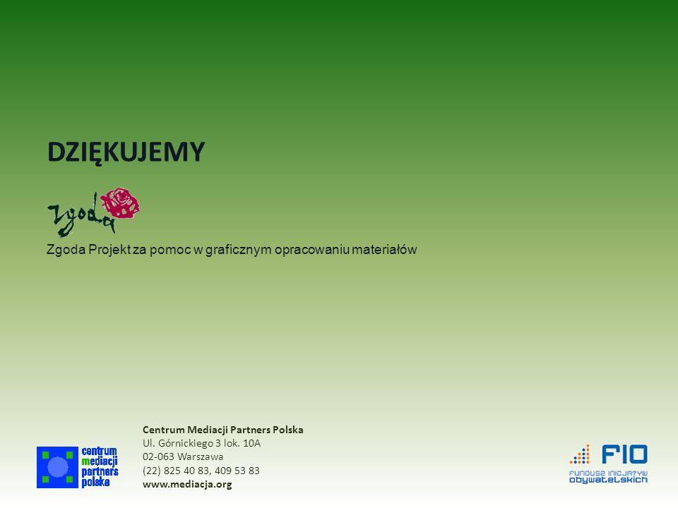 DZIĘKUJEMY Zgoda Projekt za pomoc w graficznym opracowaniu materiałów Centrum Mediacji Partners Polska Ul.
