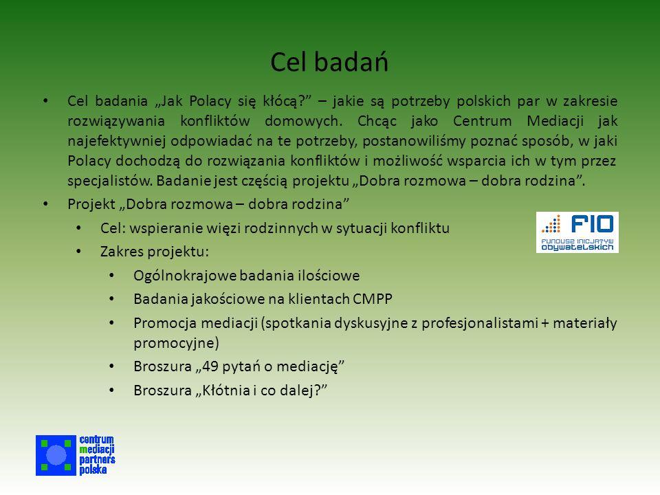 """Cel badań Cel badania """"Jak Polacy się kłócą? – jakie są potrzeby polskich par w zakresie rozwiązywania konfliktów domowych."""