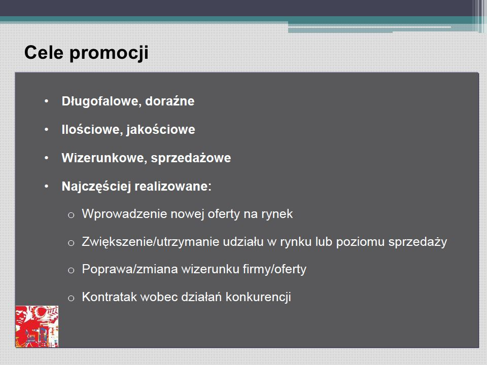 Cele promocji
