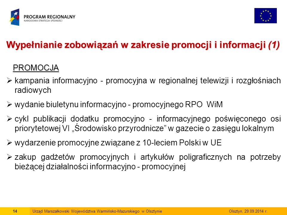 14Urząd Marszałkowski Województwa Warmińsko-Mazurskiego w Olsztynie Olsztyn, 29.09.2014 r.
