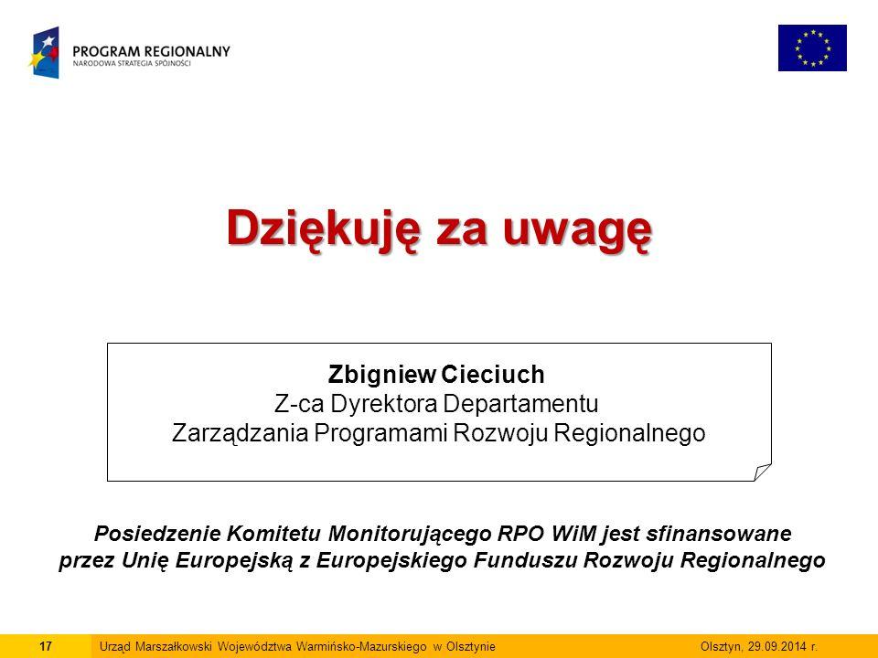 17Urząd Marszałkowski Województwa Warmińsko-Mazurskiego w Olsztynie Olsztyn, 29.09.2014 r.