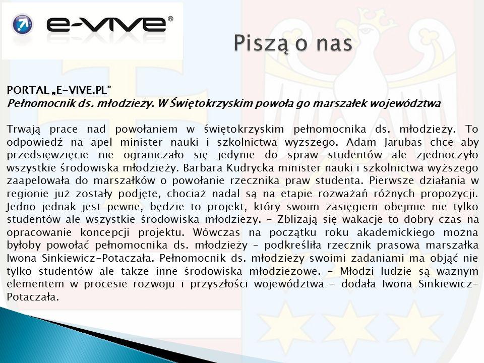 """PORTAL """"E-VIVE.PL Pełnomocnik ds. młodzieży."""