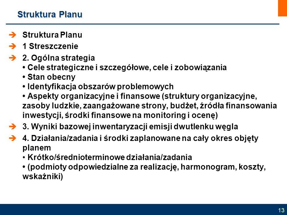 Struktura Planu  Struktura Planu  1 Streszczenie  2. Ogólna strategia Cele strategiczne i szczegółowe, cele i zobowiązania Stan obecny Identyfikacj