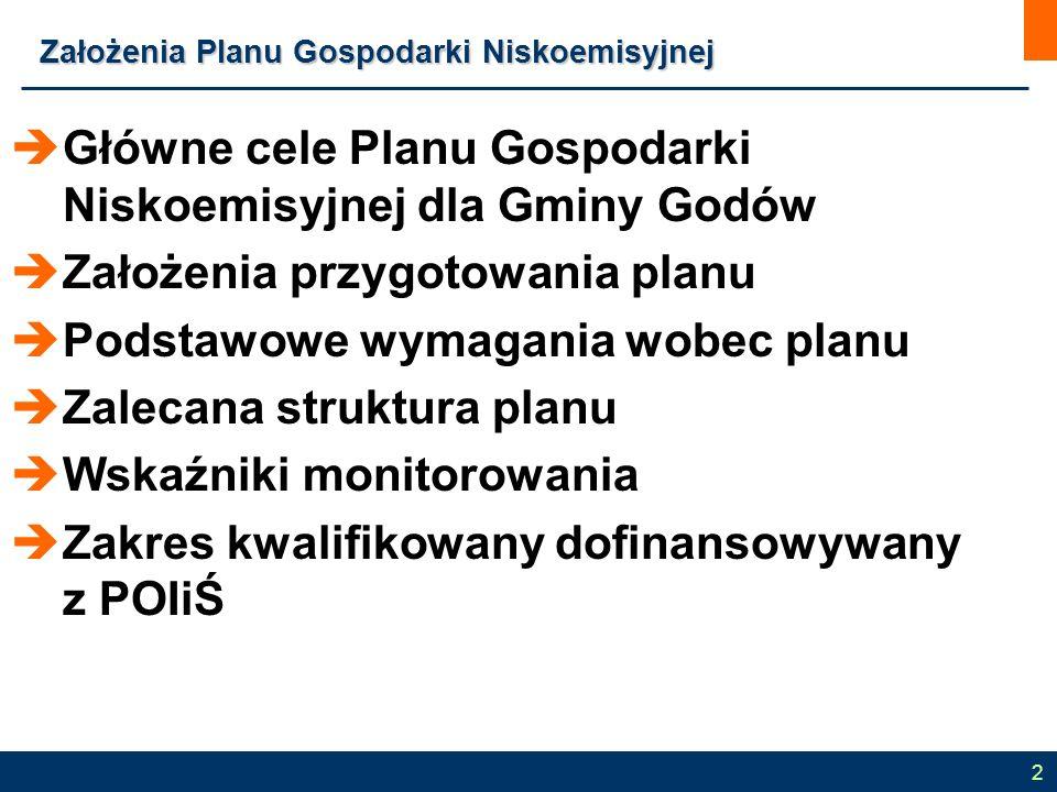  Główne cele Planu Gospodarki Niskoemisyjnej dla Gminy Godów  Założenia przygotowania planu  Podstawowe wymagania wobec planu  Zalecana struktura