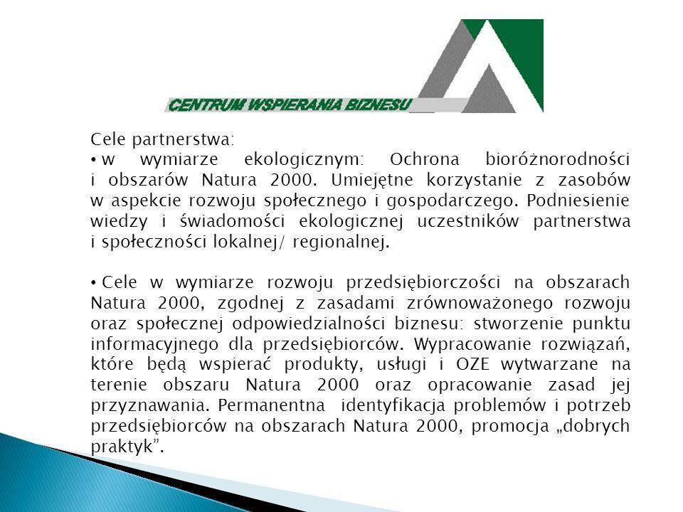 Cele partnerstwa: w wymiarze ekologicznym: Ochrona bioróżnorodności i obszarów Natura 2000. Umiejętne korzystanie z zasobów w aspekcie rozwoju społecz