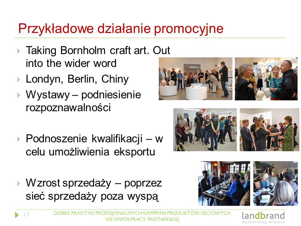 DOBRE PRAKTYKI PROFESJONALNYCH KAMPANII PRODUKTÓW SIECIOWYCH WE WSPÓŁPRACY PARTNERSKIEJ Przykładowe działanie promocyjne  Taking Bornholm craft art.