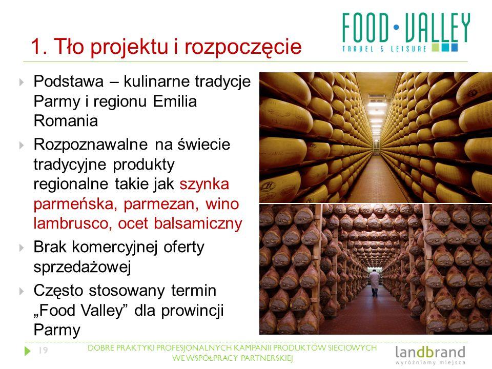 DOBRE PRAKTYKI PROFESJONALNYCH KAMPANII PRODUKTÓW SIECIOWYCH WE WSPÓŁPRACY PARTNERSKIEJ 1. Tło projektu i rozpoczęcie  Podstawa – kulinarne tradycje