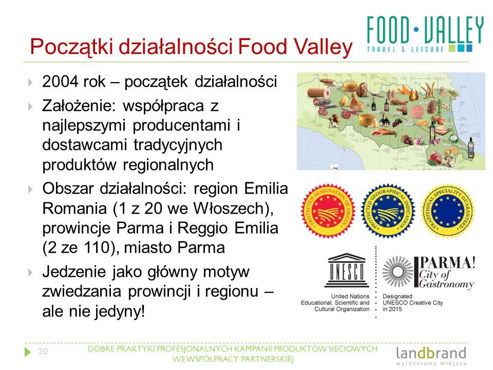 DOBRE PRAKTYKI PROFESJONALNYCH KAMPANII PRODUKTÓW SIECIOWYCH WE WSPÓŁPRACY PARTNERSKIEJ Początki działalności Food Valley  2004 rok – początek działa