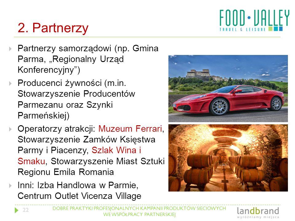 """DOBRE PRAKTYKI PROFESJONALNYCH KAMPANII PRODUKTÓW SIECIOWYCH WE WSPÓŁPRACY PARTNERSKIEJ 2. Partnerzy  Partnerzy samorządowi (np. Gmina Parma, """"Region"""