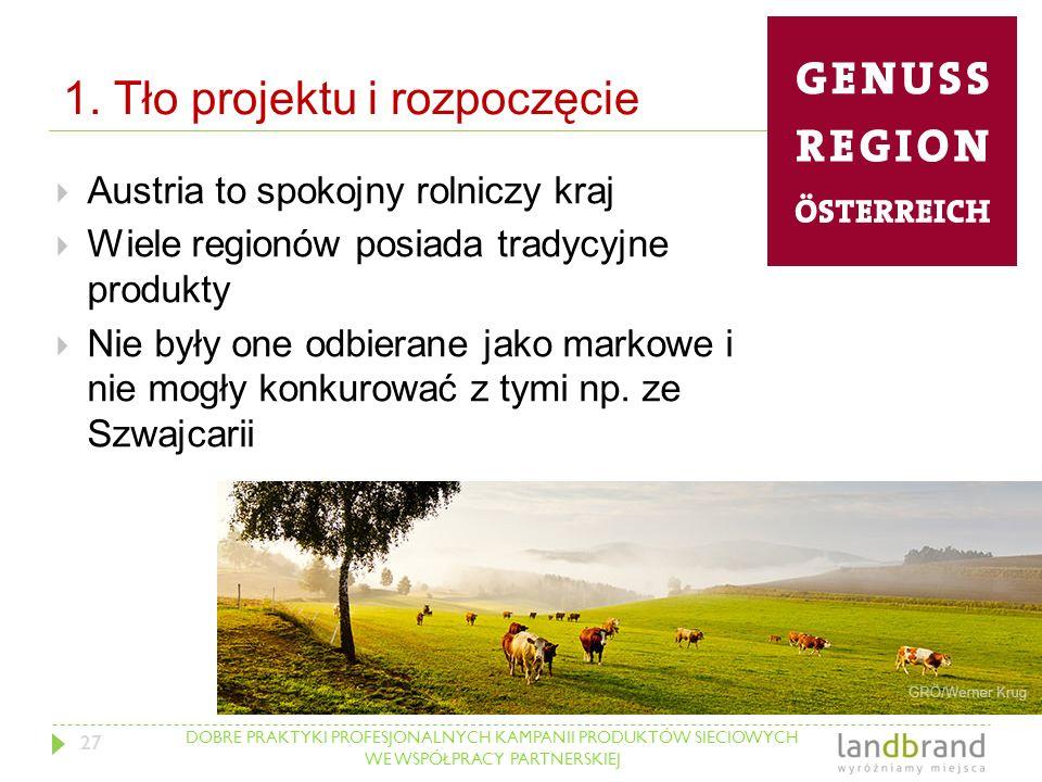 DOBRE PRAKTYKI PROFESJONALNYCH KAMPANII PRODUKTÓW SIECIOWYCH WE WSPÓŁPRACY PARTNERSKIEJ 1. Tło projektu i rozpoczęcie  Austria to spokojny rolniczy k