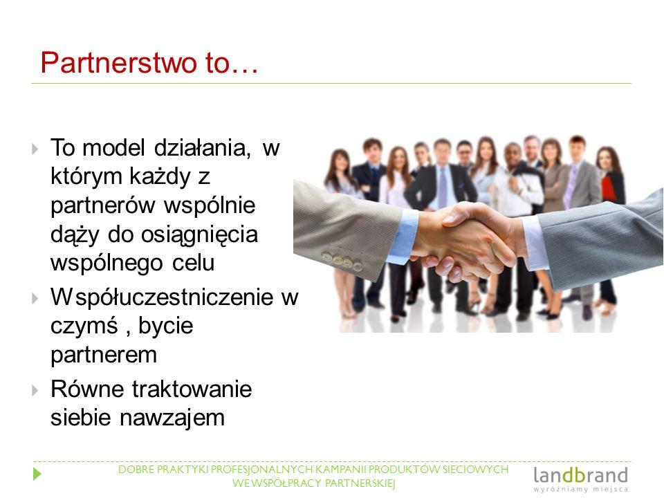 DOBRE PRAKTYKI PROFESJONALNYCH KAMPANII PRODUKTÓW SIECIOWYCH WE WSPÓŁPRACY PARTNERSKIEJ Partnerstwo to…  To model działania, w którym każdy z partner