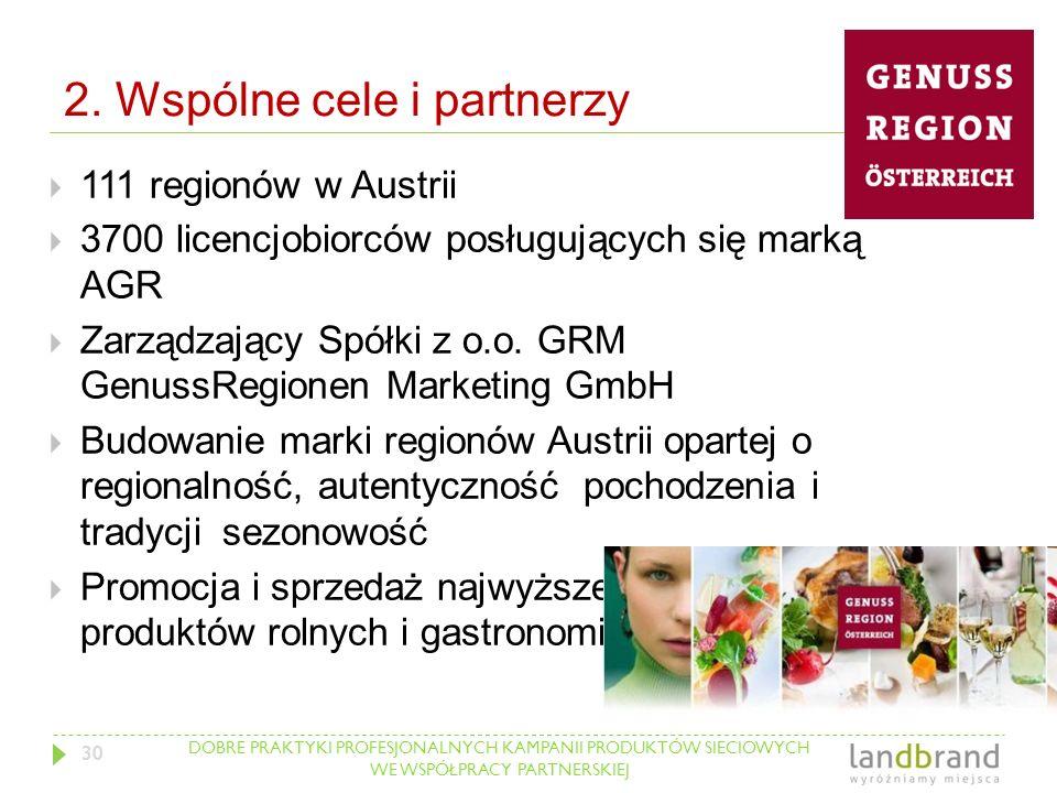 DOBRE PRAKTYKI PROFESJONALNYCH KAMPANII PRODUKTÓW SIECIOWYCH WE WSPÓŁPRACY PARTNERSKIEJ 2. Wspólne cele i partnerzy  111 regionów w Austrii  3700 li