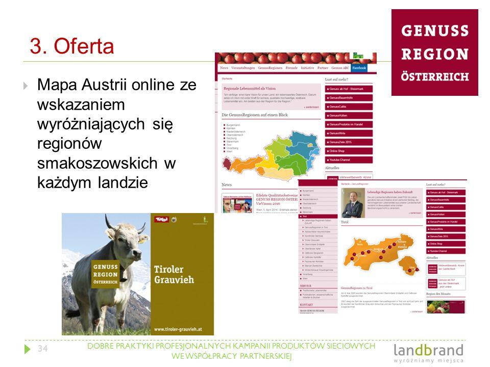 DOBRE PRAKTYKI PROFESJONALNYCH KAMPANII PRODUKTÓW SIECIOWYCH WE WSPÓŁPRACY PARTNERSKIEJ 3. Oferta  Mapa Austrii online ze wskazaniem wyróżniających s
