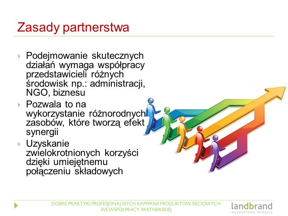 DOBRE PRAKTYKI PROFESJONALNYCH KAMPANII PRODUKTÓW SIECIOWYCH WE WSPÓŁPRACY PARTNERSKIEJ Zasady partnerstwa  Podejmowanie skutecznych działań wymaga w