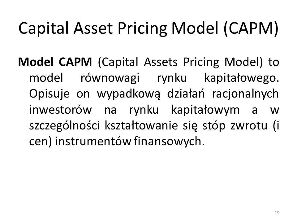 Capital Asset Pricing Model (CAPM) Model CAPM (Capital Assets Pricing Model) to model równowagi rynku kapitałowego. Opisuje on wypadkową działań racjo